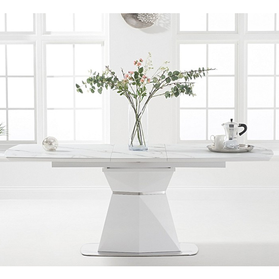 Jaydenia Marble Extending Dining Table In White
