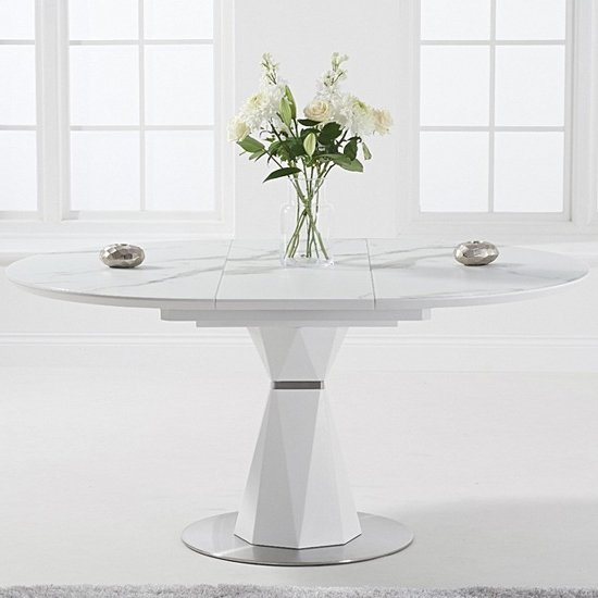 Jaydenia Marble Round Extending Dining Table In White