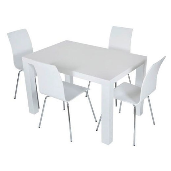 Jayden Dining Table Rectangular In Matt White With 4 Chairs