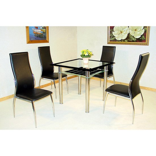 Jazo Clear and Black Glass Dining Table And 4 Dining Chairs