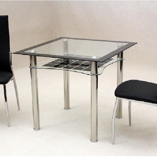 Jazo Dining Table In Clear And Black Glass With Undershelf