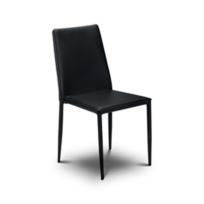 Jazz Stacking Black Faux Leather Chair