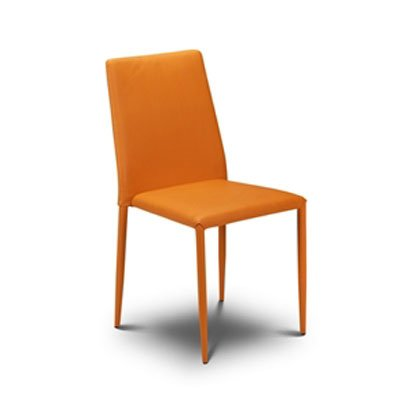 Jazz Stacking Chair In Orange Faux Leather 13221 Furniture