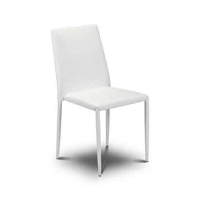 Jazz Stacking White Faux Leather Chair