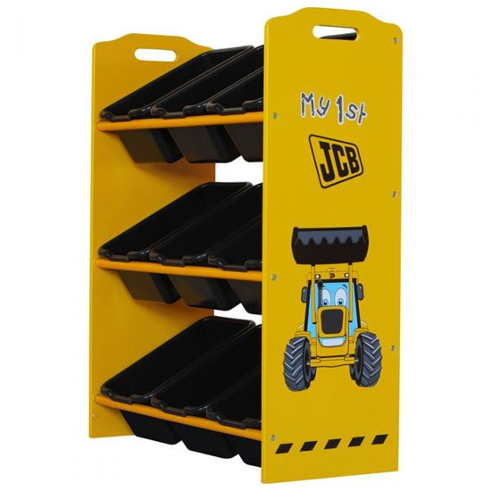 JCB Kids Black 9 Bins Storage Stand In Yellow