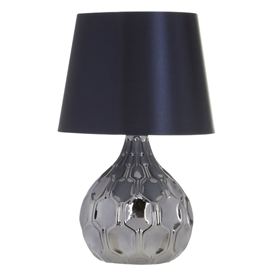 Jemno Rich Blue Fabric Shade Table Lamp With Black Base