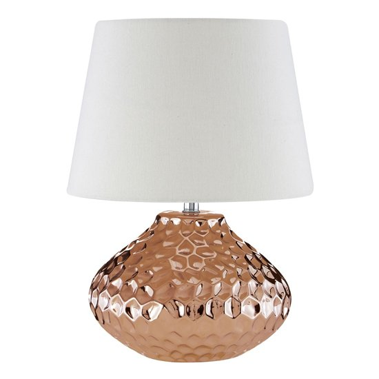 Jenato Ivory Fabric Shade Table Lamp With Copper Base