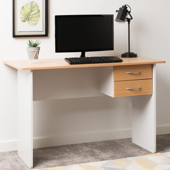 View Jenny wooden 2 drawers computer desk in beech and white