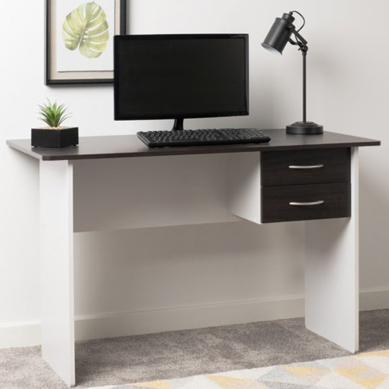 View Jenny wooden 2 drawers computer desk in wenge and white