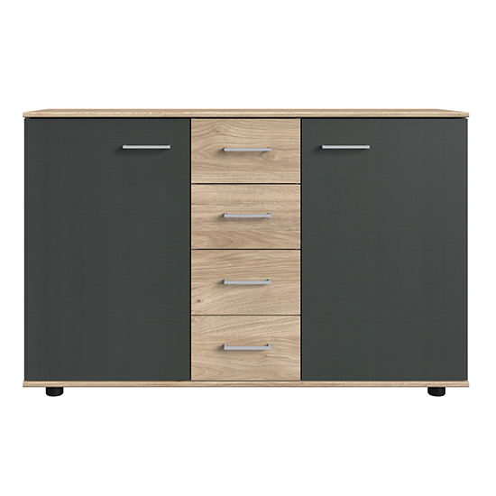 Jenny Large Wooden Sideboard In Hickory Oak And Graphite
