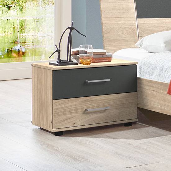 Jenny Wooden Bedside Cabinet In Hickory Oak And Graphite_1