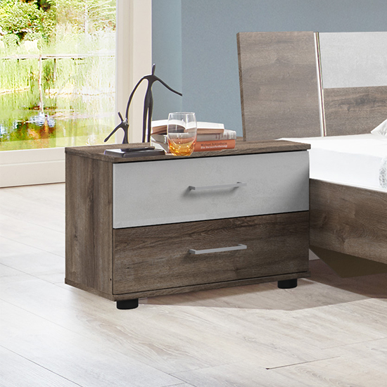 Jenny Wooden Bedside Cabinet In Muddy Oak And Light Grey