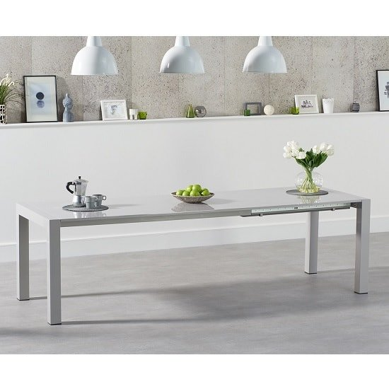 Jensen Extendable Dining Table In Light Grey High Gloss