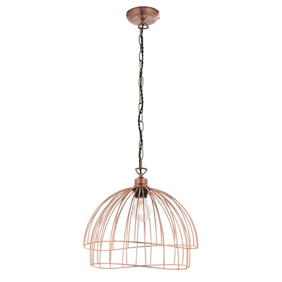 Jericho Wall Hung Pendant Light In Copper Plate