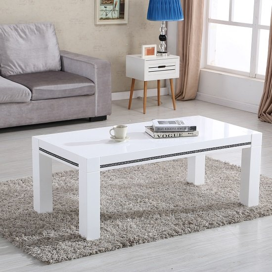 Diamante Coffee Table In White High Gloss With Rhinestones