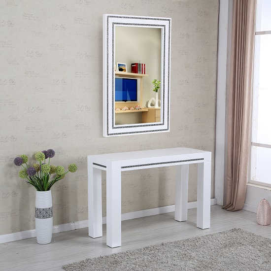 Diamante Console Table With Mirror In White High Gloss_1