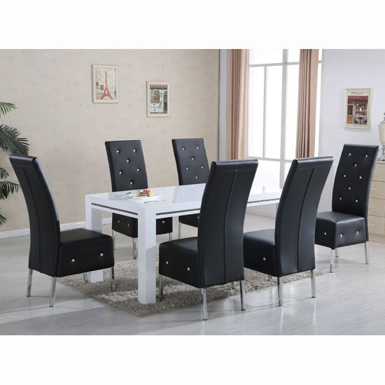 table sets diamante high gloss dining table with 6 asam black chairs