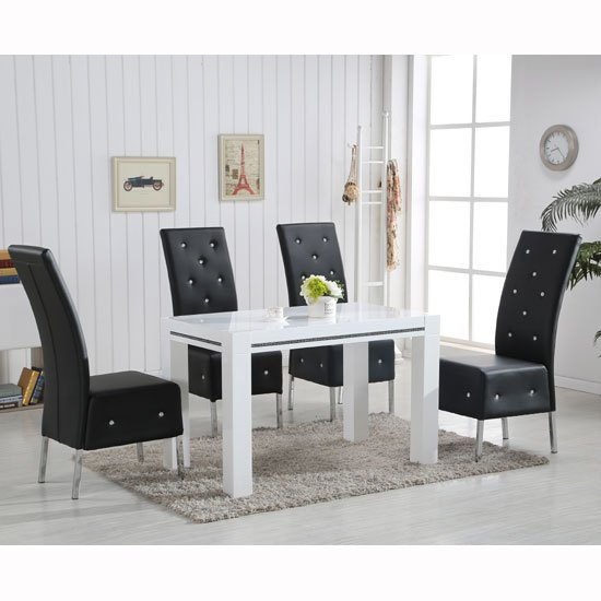Diamante High Gloss Small Dining Table With 4 Asam Black Chairs