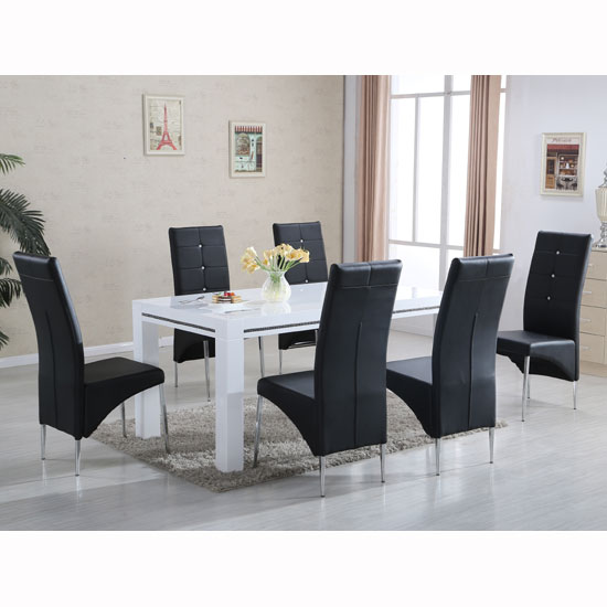 Diamante High Gloss Dining Table With 6 Vesta Black Chairs