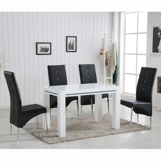 Diamante High Gloss Small Dining Table With 4 Vesta Black Chairs