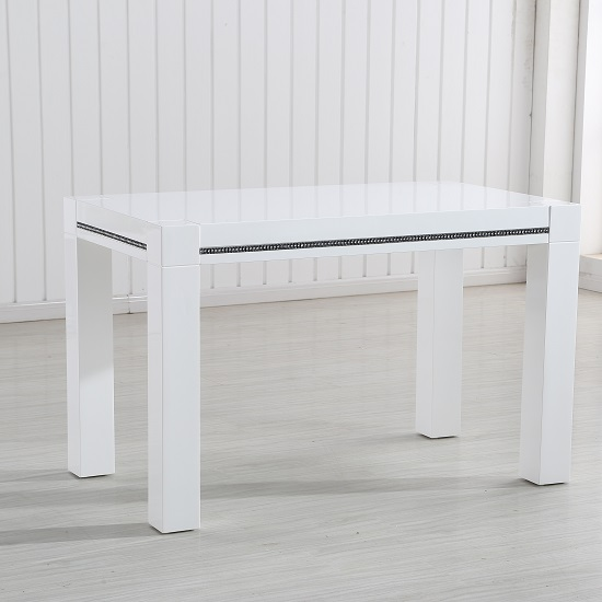 Diamante Small Dining Table In White High Gloss With Rhinestones