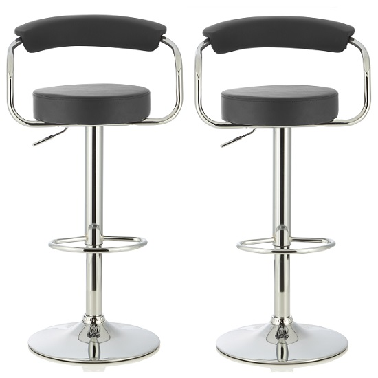 Jerome Modern Bar Stool In Black Faux Leather In A Pair