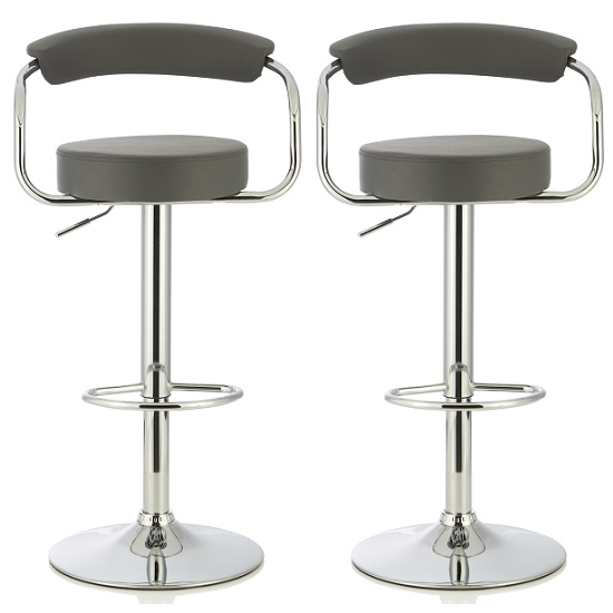 Jerome Modern Bar Stool In Grey Faux Leather In A Pair