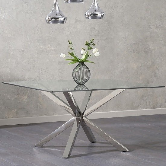 Jersey Glass Dining Table In Clear With Stainless Steel Legs