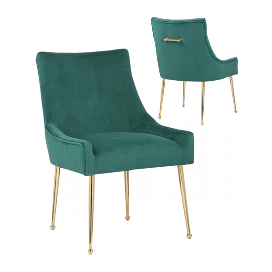 Jersey Green Velvet Dining Chairs In Pair