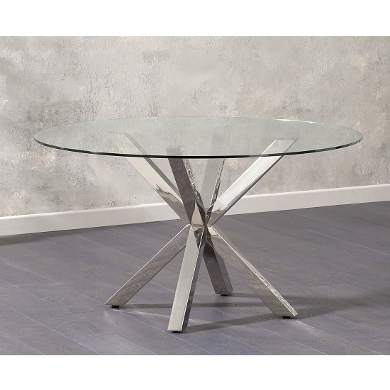 Jersey Round Clear Glass Dining Table With Stainless Steel Legs