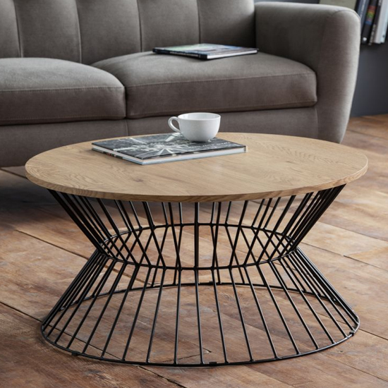 Jersey Wooden Coffee Table In Natural Oak With Round Wire Base