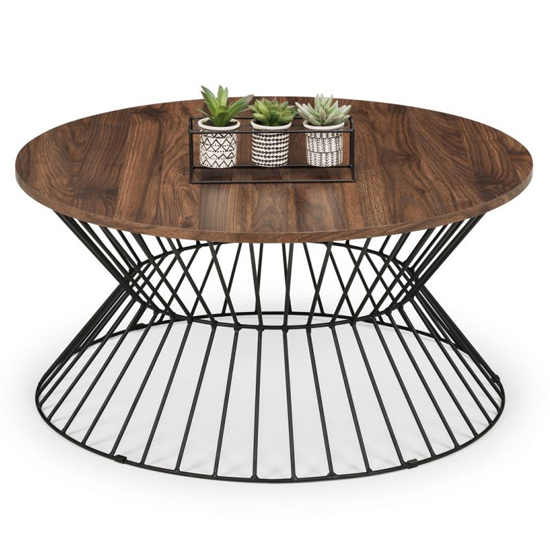 Jersey Wooden Coffee Table In Walnut With Round Wire Base_2