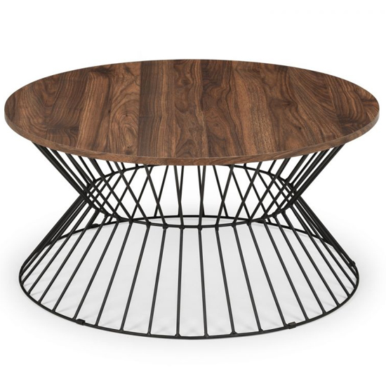 Jersey Wooden Coffee Table In Walnut With Round Wire Base_3