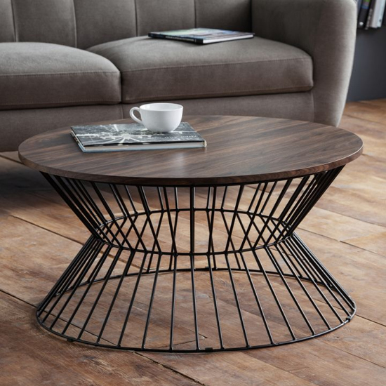 Jersey Wooden Coffee Table In Walnut With Round Wire Base_1