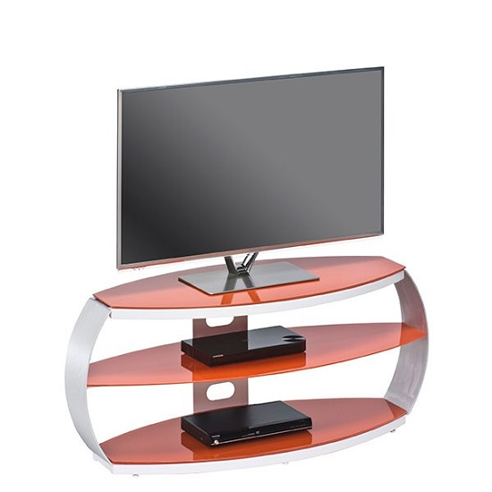 Jesper LCD TV Stand In Pastel Red Glass With Aluminium Frame