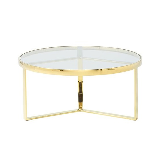 Jesse Glass Coffee Table In Clear With Gold Finish Frame