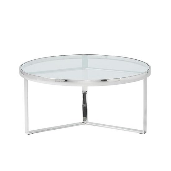 Jesse Glass Coffee Table In Clear With Stainless Steel Frame