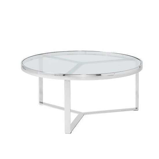 Jesse Glass Coffee Table In Clear With Stainless Steel Frame_2