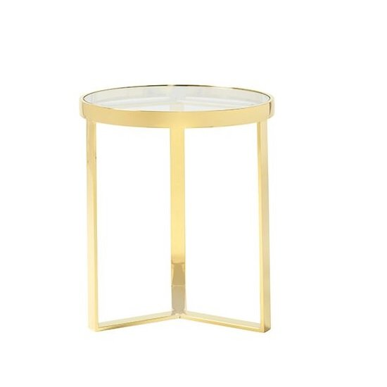 Jesse Glass Lamp Table In Clear With Gold Finish Frame