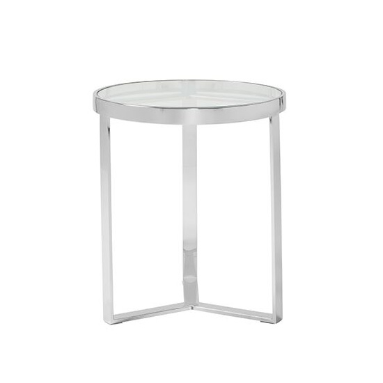 Jesse Glass Lamp Table In Clear With Stainless Steel Frame_1