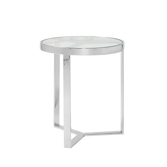 Jesse Glass Lamp Table In Clear With Stainless Steel Frame_2