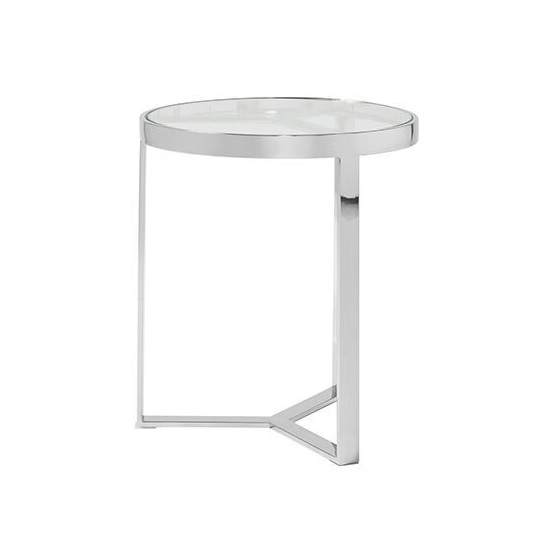 Jesse Glass Lamp Table In Clear With Stainless Steel Frame_3