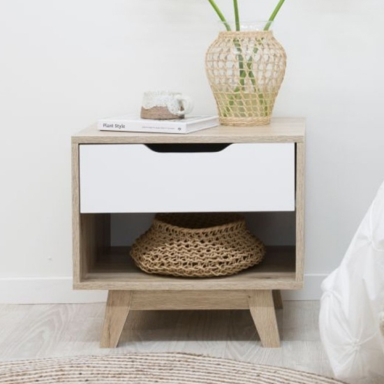 Jesse Wooden Bedside Table In Oak With White Drawer