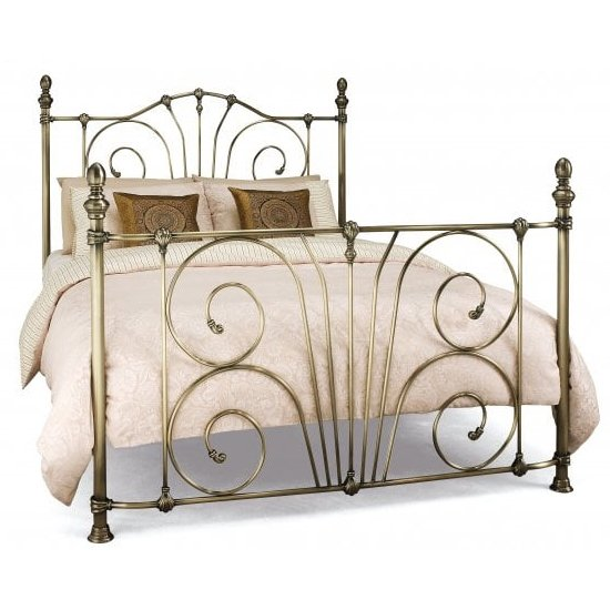 Jessica Metal Double Bed In Antique Brass