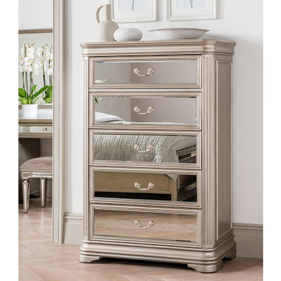 Jessica Tall Wooden Mirrored Chest Of Drawers In Taupe
