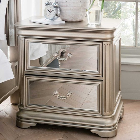Jessica Wooden Mirrored Bedside Cabinet In Taupe