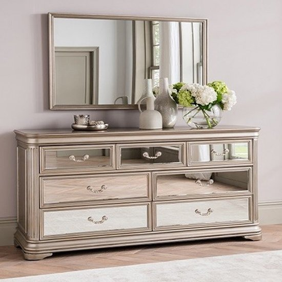 Jessica Wooden Mirrored Chest Of Drawers And Mirror In Taupe