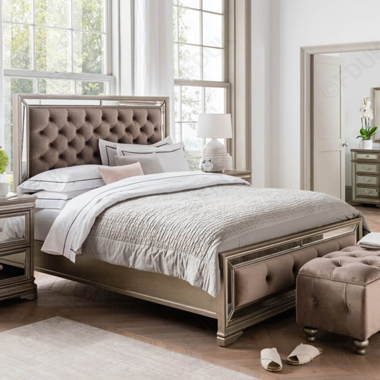 Jessica Wooden Mirrored Super King Size Bed In Taupe_1