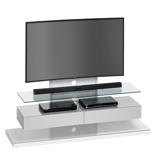 Jessie TV Stand In White Metal And Platinum Grey Glass