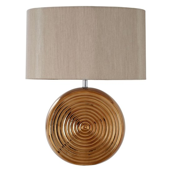 Jessima Natural Fabric Shade Table Lamp With Bronze Base
